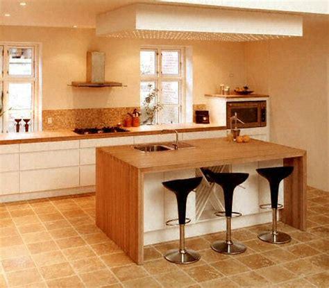 cuisine bois plan de travail blanc ilot cuisine bois