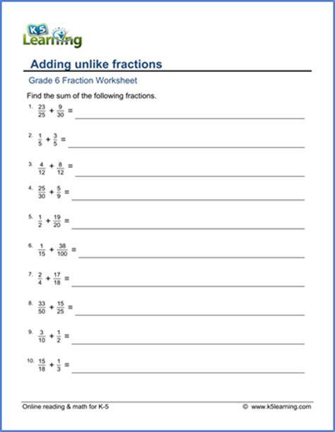 grade 6 math worksheet fractions adding unlike