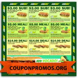 Menu Subway Coupons Printable