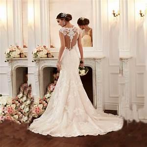 2016 sexy mermaid wedding dress vestido de noiva cap With robe de mariée annecy