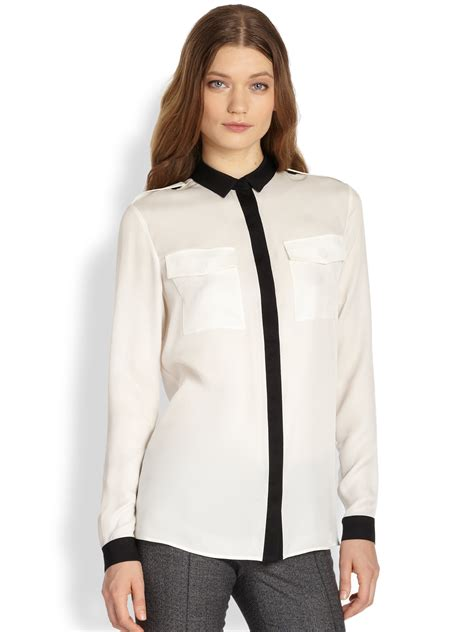 burberry blouse burberry bicolor silk blouse in white white lyst