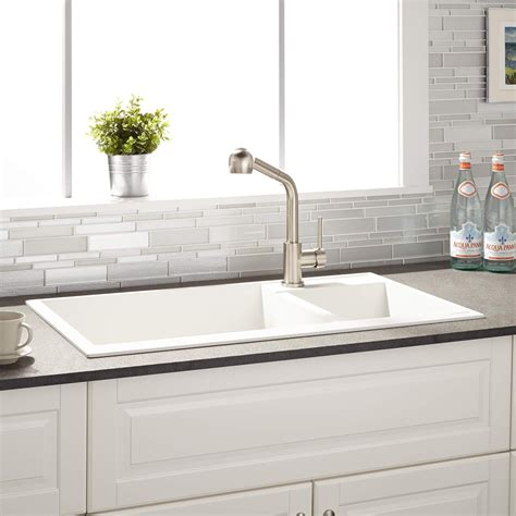 white granite composite sink 34 quot arvel 70 30 offset double bowl drop in granite