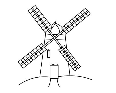 Drawn Mill Windmill Line Pencil And In Color Drawn Mill