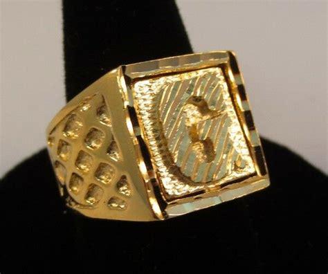 mens kt gold ep bling letter  initial hip hop ring sizes   ebay