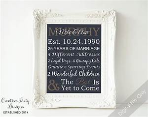 items similar to 25th anniversary gift personalized With 25th wedding anniversary gift for husband