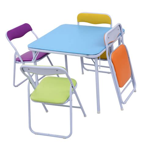 5 set folding table chair children colorful