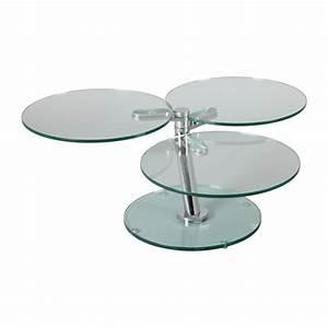 Table Basse Ronde Verre : table basse ronde articul e 3 plateaux verre achat vente table basse table basse ronde ~ Teatrodelosmanantiales.com Idées de Décoration