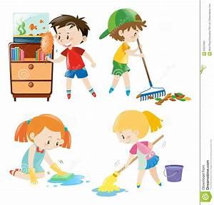 Cuatro Niños Que Hacen Diversas Tareas En Casa Ilustración del Vector Imagen: 83237682