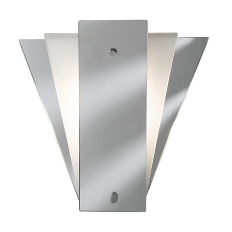art deco style wall light with mirror white glass panels