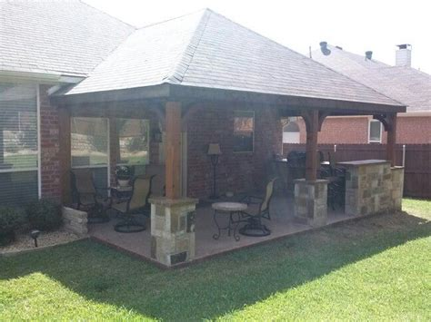 hip cedar roof ss concrete outdoor kitchen pic  patio covers pinterest outdoor
