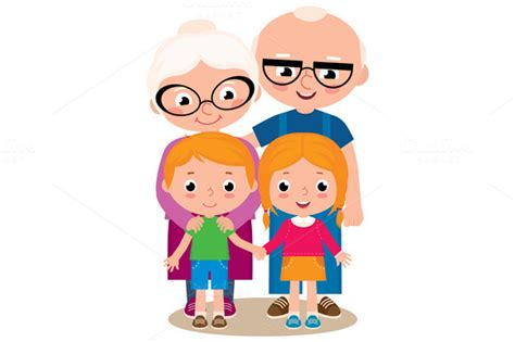 Grandparents And Their Grandchildren Illustrations On