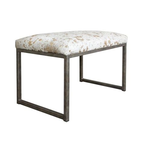 Cowhide Bench by Embossed Metallic Splash Cowhide Bench On Iron