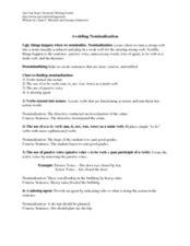 avoiding nominalization worksheet for 10th higher ed lesson planet