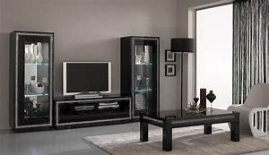 Meuble Salon Noir : cuisine meuble de salon viarregio ac avec clairage led meuble de salon en bois meuble de ~ Teatrodelosmanantiales.com Idées de Décoration