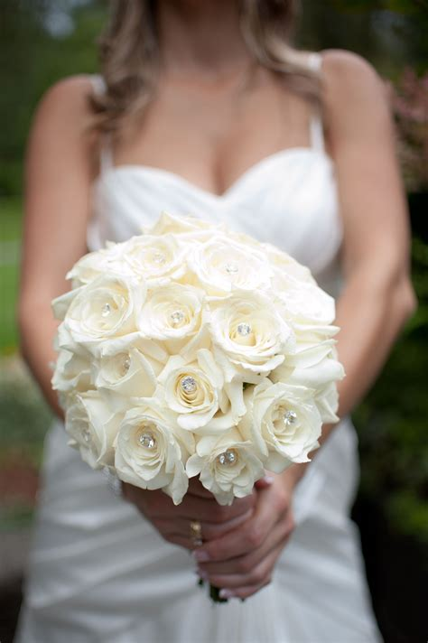 White Rose Bouquet With Bling Flowers Pinterest