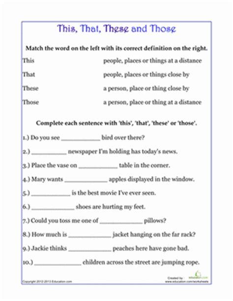 demonstrative pronouns worksheet education