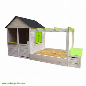 cabane en bois avec bac a sable les cabanes de jardin With maisonnette en bois avec bac a sable