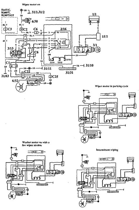 volvo 940 1994 wiring diagrams wiper washer