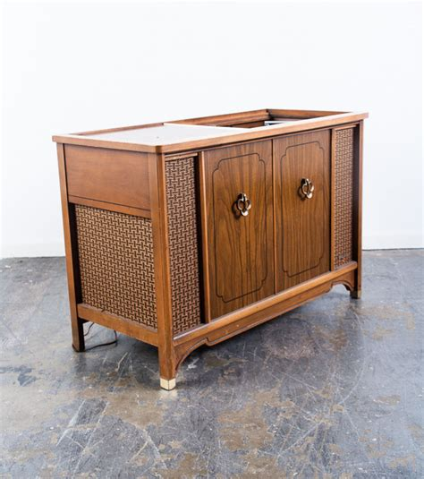 mid century modern stereo console record player radio magnavox zenith mcm ebay