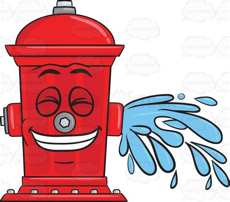 Hydrant Clipart Giddy Looking Hydrant While Flushing Water Emoji