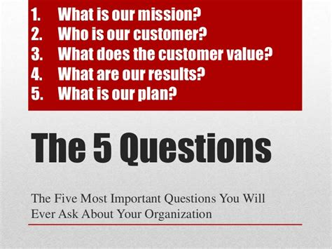 The 5 Most Important Questions