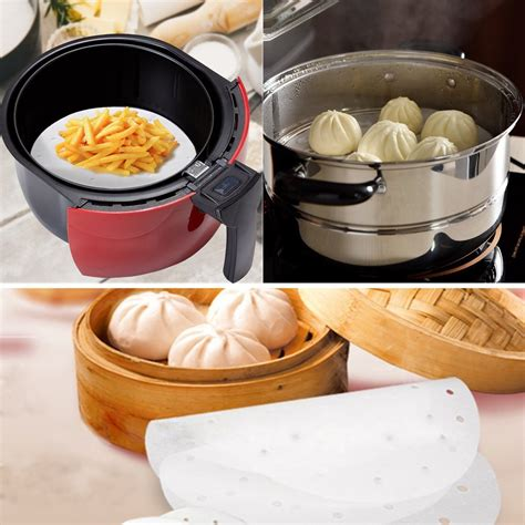 fryer air parchment liners perforated paper fryers mat steaming accessories bamboo papers steamer cooking inches perfect useful 100pcs premium 7qt