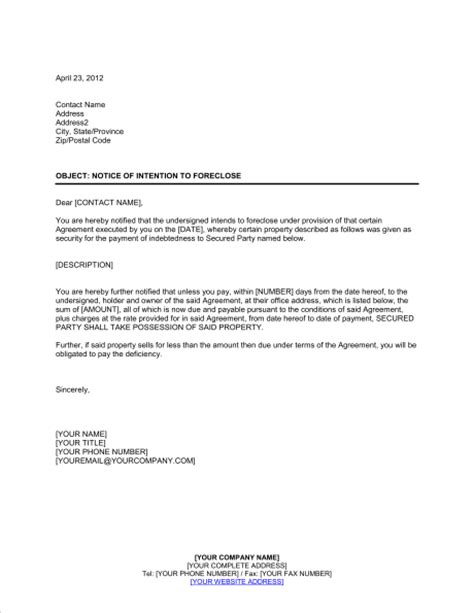 foreclosure letter format foreclosure letter format