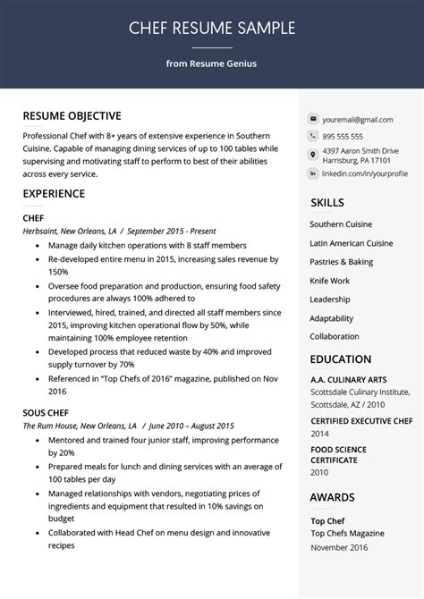 Chef Resume by Resume For Chef Bijeefopijburg Nl