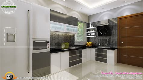 Contemporary Kitchen Interiors by Contemporary Kitchen Dining And Living Room Kerala Home