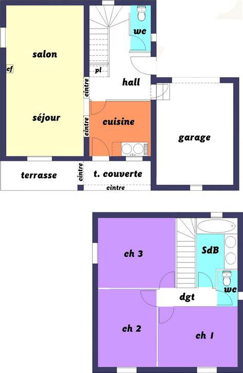 plan maison etage 2 chambres plan maison 60m2 3 chambres