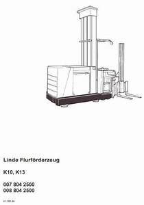 Linde Truck Type 007  008  K10  K13 Operating Instructions