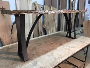 Sofa Table Legs Hand Made Live Edge Walnut Sofa Table With