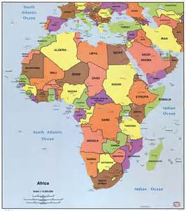 Large Map Africa with Capitals