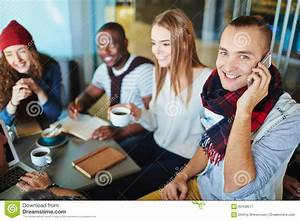 Talking on the phone stock image. Image of cafe, smiling ...