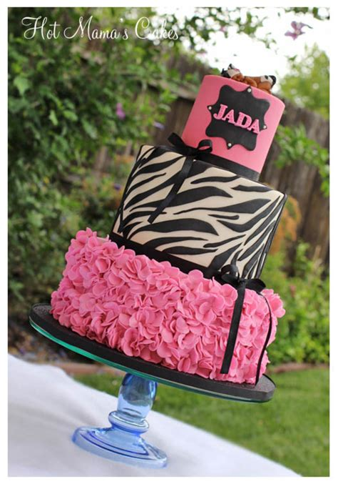 cakes 13th birthday zebra print party cake pink baby shower ruffles bday parties cakecentral decorations teen cute extra easy clothes