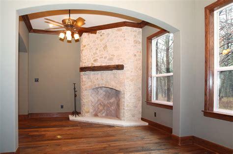 white rock fireplace