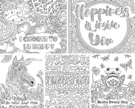 color messages inspirational messages 5 coloring pages printable