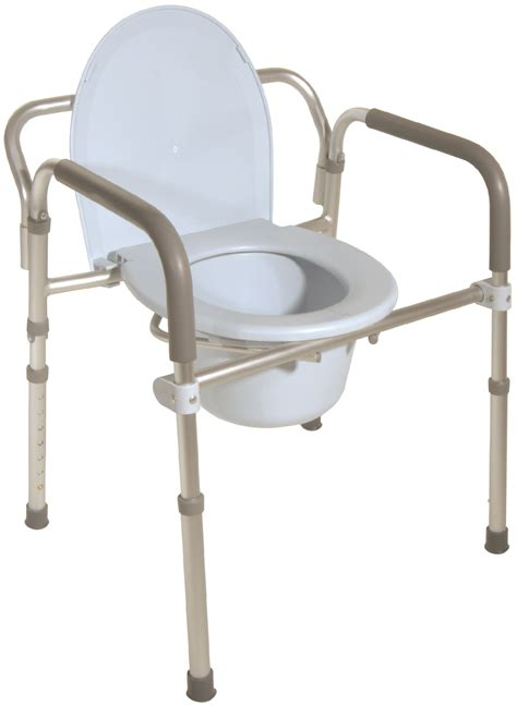 boll folding aluminum commode with padded armrests