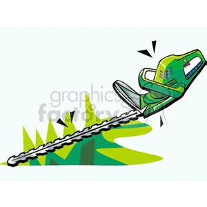 royalty  green motorized hedge trimmer  vector