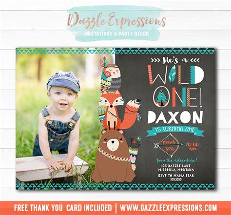 printable wild  tribal woodland chalkboard birthday