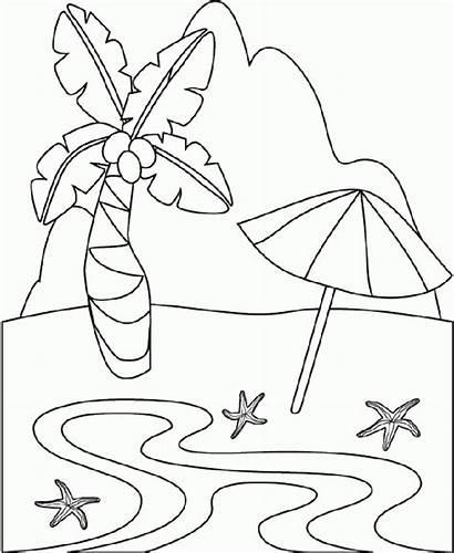 Coloring Tropical Island Scene Printable Clipart Clip