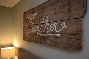 quothappy togetherquot barn wood sign and bedroom spruce up With barnwood sign ideas