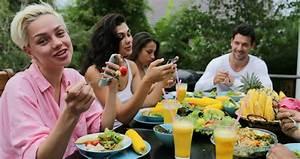 People Group Eating Healthy Vegetarian Food Talking, Happy ...