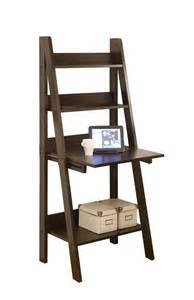 monarch specialties high ladder bookcase with a drop down desk 61 inch brown