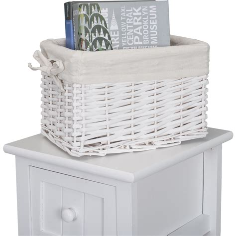 Shabby Chic White Bedside Home Bedroom Units Tables