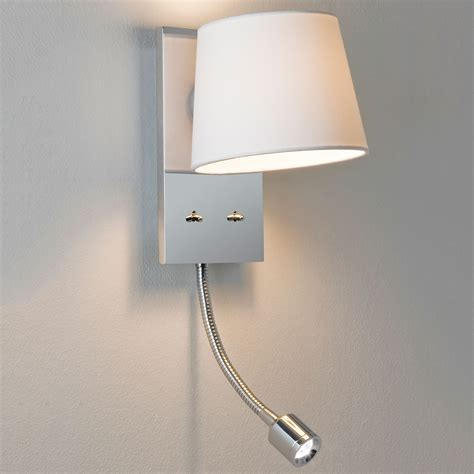 astro sala polished chrome wall light with white shade and led reading light at uk electrical