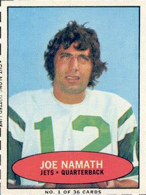 bazooka joe namath  football card  price guide