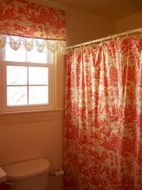 retrospect red toile shower curtain  matching valance