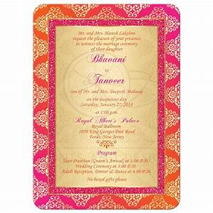 Wedding Invitation Orange, Fuchsia, Gold Damask Faux