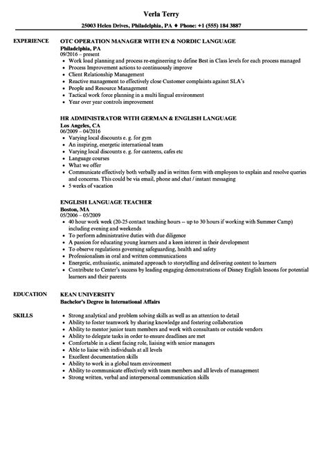 language resume sles velvet